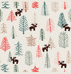 christmas holiday seamless pattern reindeer trees vector image