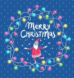 Christmas lights and Santa greeting card vector image