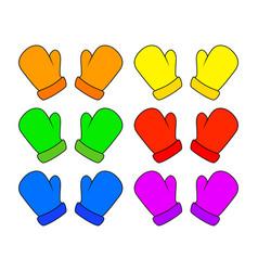 christmas mittens set cartoon gloves design icon vector image