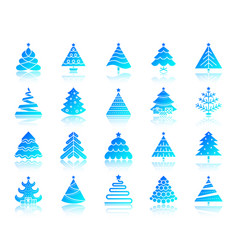christmas tree simple gradient icons set vector image