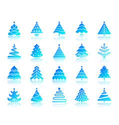 Christmas tree simple gradient icons set vector