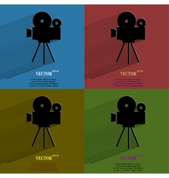 Color set Videocamera Flat modern web button with vector
