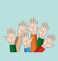 concept of raised up hands concept of education vector image