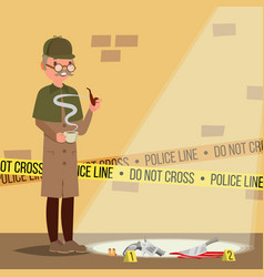 Crime scene detective at crime scene flat vector