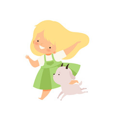 Cute girl running with goatling kid having fun vector