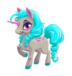 Cute unicorn princess icon vector