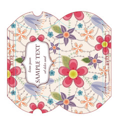 Die-cut pillow box with floral pattern vector