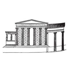 Erechtheum house vintage engraving vector