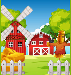 farm scene in nature with barn and scarecrow and vector image