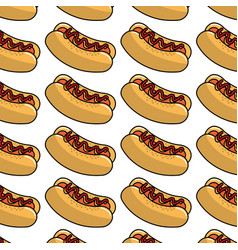 Fast food hot dog meal background vector