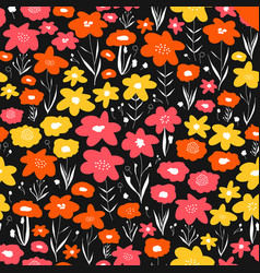 flower meadow seamless pattern pink yellow vector image
