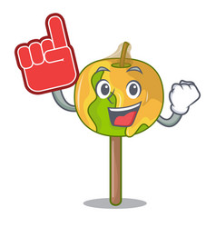 Foam finger candy apple mascot cartoon vector
