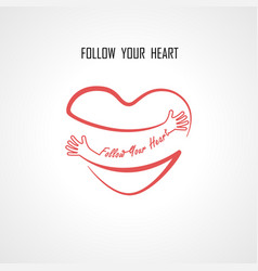 Follow your heart typographical design elements vector