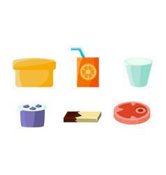 Food icons set yogurt orange juice chocolate vector