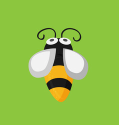 funny flat bee on the green background vector image