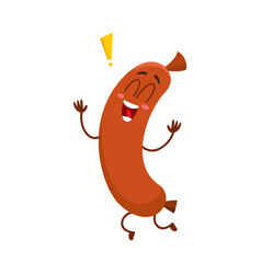 funny sausage character with human face running vector image