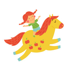 girl horse vector image