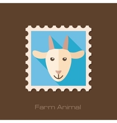 Goat flat stamp Animal head vector image