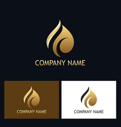 gold abstract water drop logo vector image