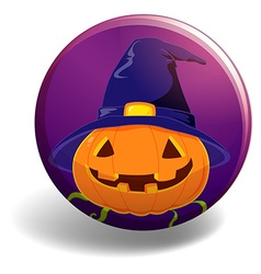 Halloween badge with pumpkin wearing witch hat vector