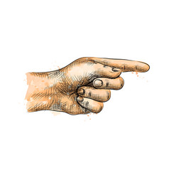 hand pointing pointing finger from a splash of vector image