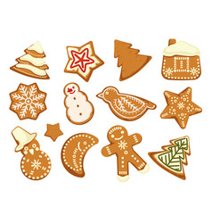 happy holidays christmas traditonal cookies vector image