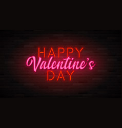 happy valentine s day neon banner vector image