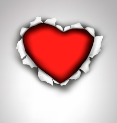 Heart made ripped paper valentines day vector