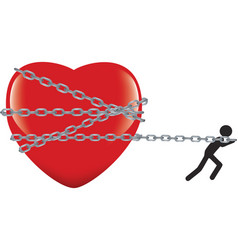 Heart tied with dragged and disputed chain vector