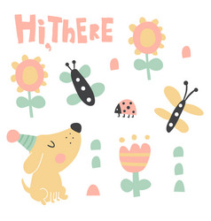 hi there dog set vector image