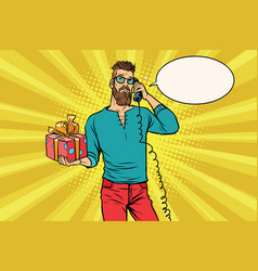 Hipster with a gift of talking on the phone vector