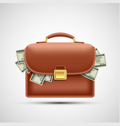 Icon brown briefcase with paper currency dollars vector