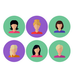 image of female faces flat vector image