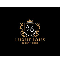 Initial ao letter royal luxury logo template vector