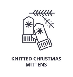 knitted christmas mittens line icon outline sign vector image