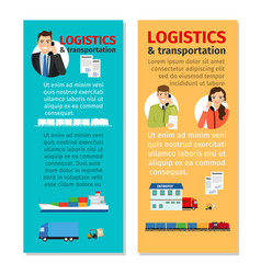 Logistics and transportation vertical flyers vector