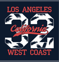 los angeles california - number print for t-shirt vector image