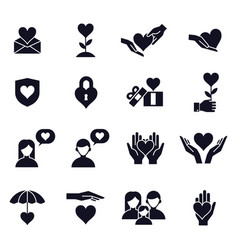 love and heart icons love couple family vector image