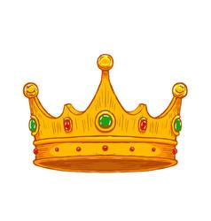 luxury crown hand drawn vector image