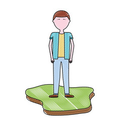 man character male standing in land vector image