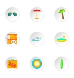 Miami city icons set cartoon style vector