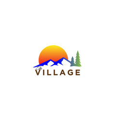 Mountain and forest landscape on sunset logo vector