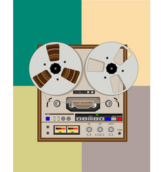 old bobbin tape recorder with reels vector image