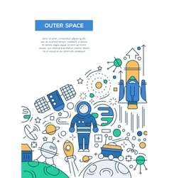 Outer Space - line design brochure poster template vector