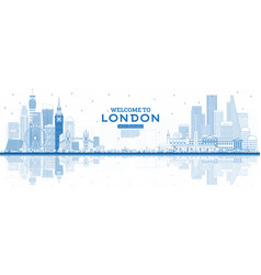outline welcome to london england skyline with vector image
