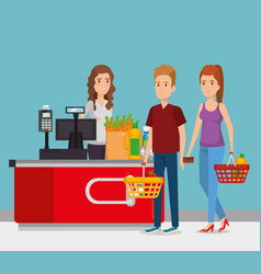person in supermarket payment point vector image
