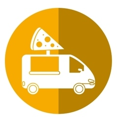 Pizza delivery truck fast food shadow vector