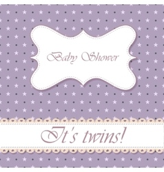 Polka dot baby shower twins vintage vector image