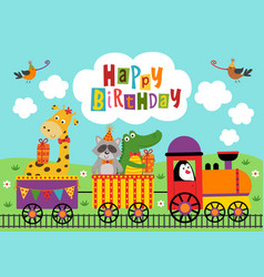 poster funny animals ride train happy birthday vector image