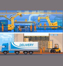 production line on modern factory colorful card vector image